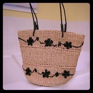 Handbags - Wicker sraw bag tan black details NEW